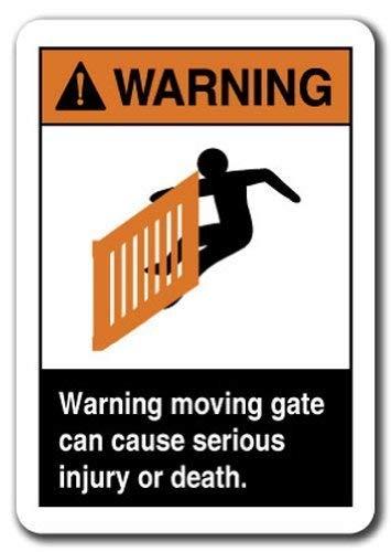 aqf527907 waarschuwingsbord waarschuwing bewegende poort kan leiden tot ernstige letsel of dood. Veiligheid Grappige metalen waarschuwingsborden voor Home Decor veiligheid Yard teken 8x12 inch