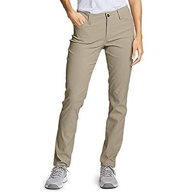 Eddie Bauer Women's Horizon Guide 5-Pocket Slim Straight Pants, Light Khaki Regu