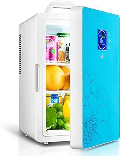 QHCS Refrigerador de Coche/Mini refrigerador pequeño refrigerado de Doble núcleo de 16L / refrigerador portátil doméstico, 220 V / 12 V, con Pantalla, Negro/Azul, Azul