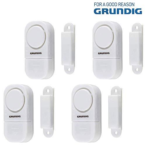 GRUNDIG Tür- und Fensteralarm - Set mit 4 drahtlosen Sicherheitseinheiten Haushalt - Magnetischer Akustischer Sensor mit Ein-/Aus-Schalter inkl. Batterien, Höhe 90dB, Ein- und Ausschalter