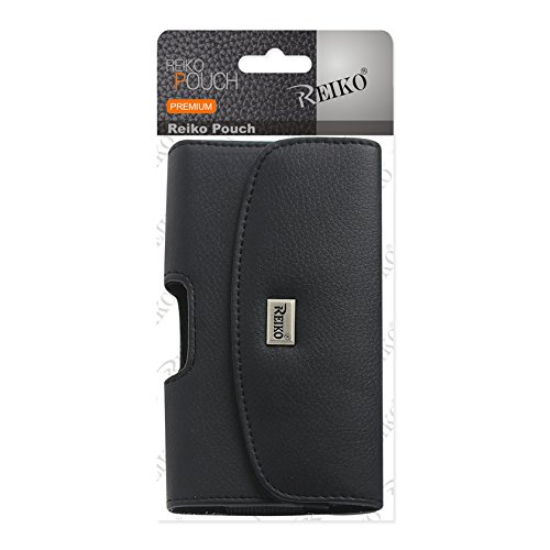 Reiko Wireless Leather Horizontal Phone Pouch with Embossed Logo 6.44X3.49X0.73 (Fits Phone with Case) for Samsung Note4/ Note3 - Black
