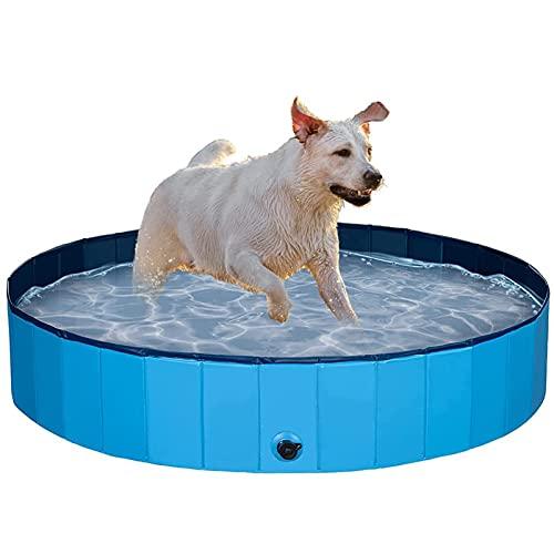 ALLWIN Piscina para Perros Plegable para Perros Grandes Piscina de plástico Duro para niños, bañera portátil para Mascotas Piscina al Aire Libre, para Perros, Gatos, niños (120 × 30 cm)