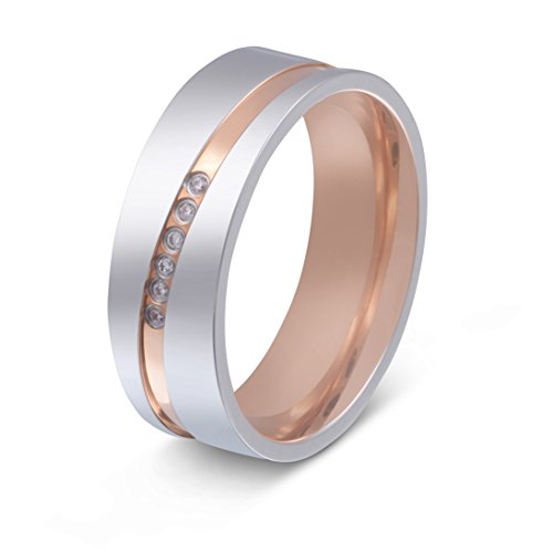 Juwelier Schönschmied- DamenEin schöner Titanring, Ehering Verlobungsring Bicolor mit gratis Gravur- Titan Zirkonia Gr. 58 (18.5) NrT23D