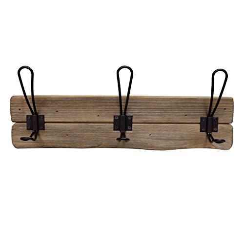 CVHOMEDECO. Perchero de pared de madera maciza rústica con ganchos, ganchos de madera para entrada, cocina, cuarto de baño Color marrón.
