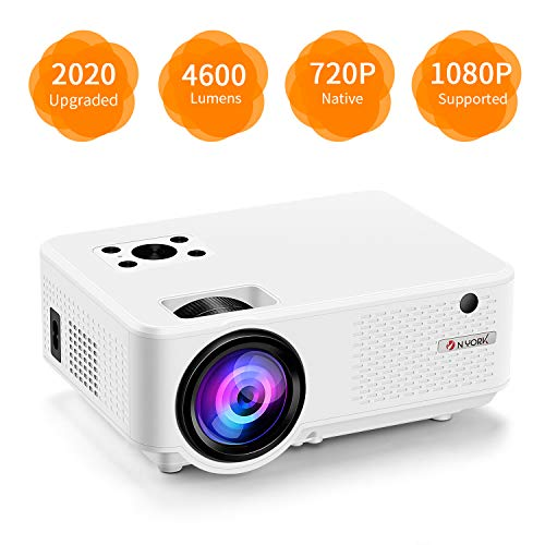 Nyork Mini Projector, [2020 Upgraded] 4600 Lumen Video Projector, 1080P Supported 210' Display, 55,000 Hours Lamp Life, Compatible with Phone,Computer,Laptop,USB,HDMI,VGA
