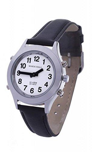 Preisvergleich Produktbild Sprechende Analog-Armbanduhr für Damen 32 mm silberfarben mit Lederarmband D-SL