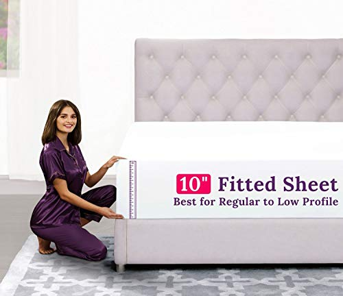 """King Size Fitted Sheet Only – [10"""" Pockets] Standard to Low Profile Fitted Sheets – Best Fit for 8""""–12"""" Mattresses – Soft and Comfy Microfiber Fabric – Easy Care – King Fitted Sheet – Bright White"""