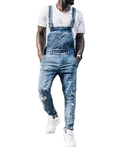 Agujero del Dril De Peto Hombres Jeans Gastados Pantalones Largos,XL