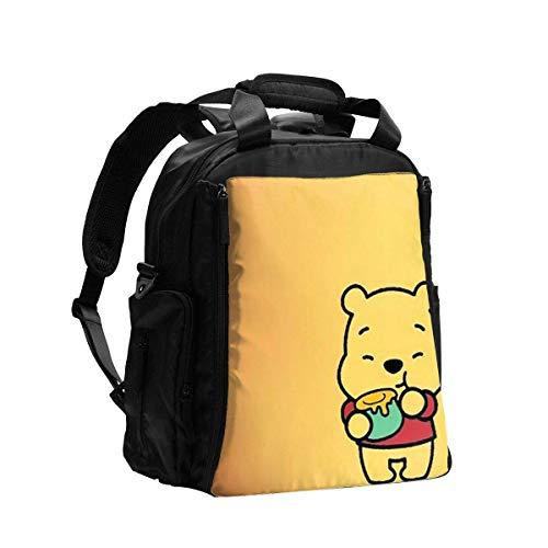 IUBBKI Bolsa de pañales Mochila Winnie The Pooh Mochila de viaje multifunción Bolsa de hombro Bolsa de maternidad para pañales con cambiador