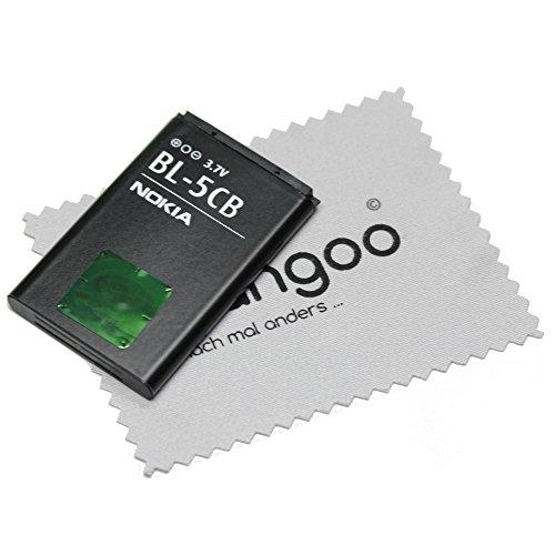 Mungoo - Batteria originale BL-5CB agli ioni di litio per Nokia C1-01, C1-02, X2-05, 1616, 1800, 100, 101, 105, 106, 109 + panno per la pulizia dello schermo