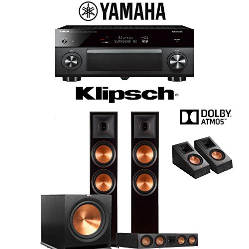 Klipsch RP-8000F 3.1.2-Ch Reference Premiere Dolby Atmos Home Theater Speaker System with Yamaha AVENTAGE RX-A2080 9.2-Channel 4K Network AV Receiver
