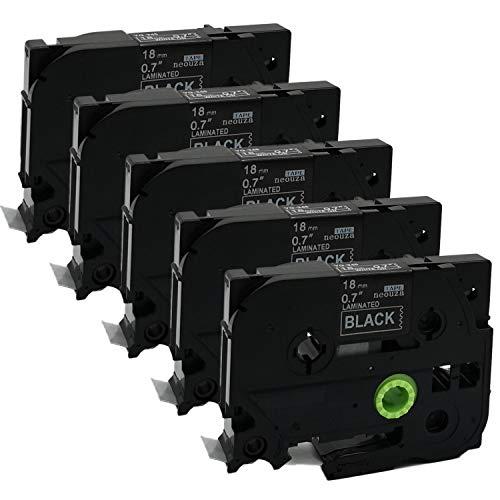 Neouza 18489/compatibile per DYMO Rhino Industrial IND flessibile in Nylon nero su bianco Label tape 19/mm 3//10,2/cm 2 Packs