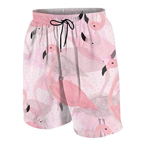 Meiya-Design Pantalones cortos de playa con estampado de flamencos, de secado rápido, con bolsillos