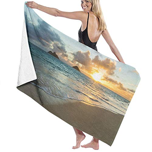 Grande Suave Toalla de Baño Manta,Amanecer escénico sobre el océano Rocas Nubes de Arena Sol Marea Rayo de Sol Orilla del mar,Hoja de Baño Toalla de Playa por la Familia Viaje Nadando,52' x 32'