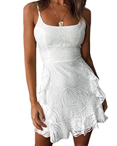 UN-BRAND Elegante vestido de mujer mini cami vestidos flores modelado verano vestidos blancos vestidos de fiesta con volantes, blanco, X-Large