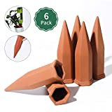 POTEY Terracotta Plant Watering Stakes - Automatic Self Waterer Devices Spikes for Vacations Irrigation, Self-Watering for Indoor Outdoor Plants 6 Pack