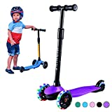 Toddler Scooter for Kids 3 Wheels Scooter for Boys Girls Kick Scooter with Light Up Wheels, Adjustable Height, Easy to Learn, Solid & Sturdy, Fits Children Ages 2-5 Years Old (Purple)