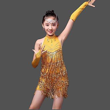 kekafu Wir Latin Dance Kleider Kinder- Leistung Milch Fibre Paillettes 3 Stück hohe Sleeveless Kleid, Handschuhe, Gelb, L