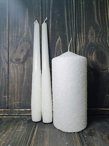 Magik Life Unity Candle Set for Weddings-Wedding Unity Candles-Candle Sets-6 Inch Pillar and 2 10 Inch Tapers - Unique Unity Candle-Quartz Color (White Quartz)