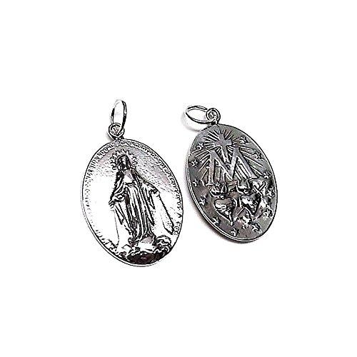 Medalla colgante plata ley 925m 30mm. Virgen Milagrosa lisa [AA7968]