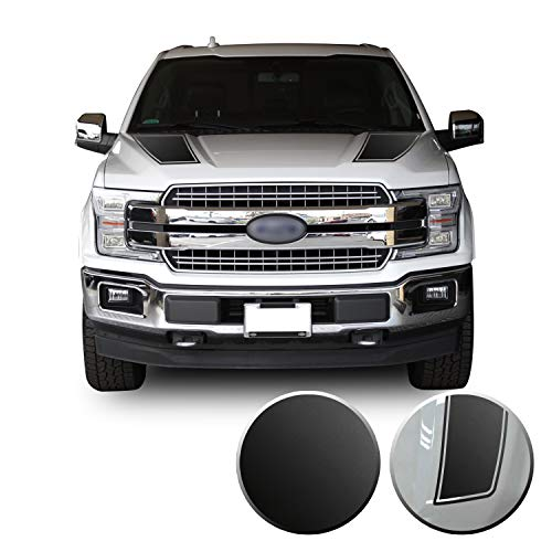 Front Outlined Hood Stripes Vinyl Graphic Decal Overlay Wrap Compatible with and Fits F-150 2015 2016 2017 2018 2019 2020 - Metallic Matte Chrome Black
