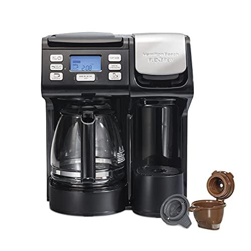 Hamilton Beach 49902 FlexBrew Trio 2-Way Single Serve Coffee Maker & Full 12c Pot, Compatible with K-Cup Pods or Grounds, Combo, Black - Next Gen