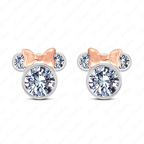 Gemstar Jewellery White Cubic Zirconia Screw Back 925 Sterling Silver Mini Mouse Stud Earrings