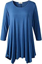 Lanmo Women Plus Size 3/4 Sleeve Tunic Tops Loose Basic Shirt (2X, Steel Blue)