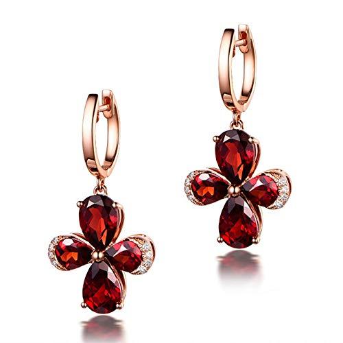 Beydodo Pendientes de Mujer Oro Rosa,Pendientes Oro Rosa 18k Flor con Granate Rojo 6.08ct