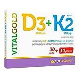 Alg Pharma Vitamin K2 + D3 VitalGold Paquete de 1 x 40 tabletas – Vitamin K2 MK-7 – Menaquinona y Colecalciferol
