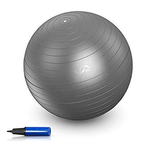 Gymnastikball / Yoga-Ball, rutschfest, mit Luftpumpe, 91,4 kg, Balance-Stabilität, Schweizer Ball für Fitnessübungen, 65 cm, Grau