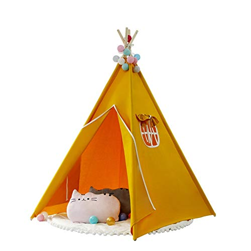 Kids Teepee Play Foldable Cotton Canvas Orange Tent Child Photography Indian Theater Tent With Cushion Indoor and Outdoor Children's Toys (Color : C1, Size : As shown)