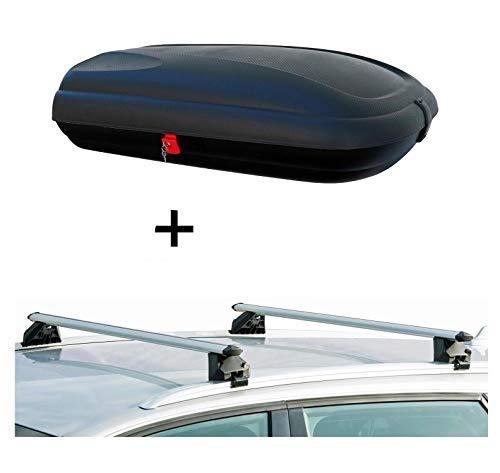 VDP Dachbox BA320 carbonlook + Relingträger CRV107A kompatibel mit Audi Q3 5 Türer ab 2011