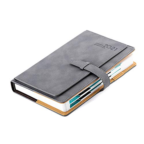 MMYY Diary 2021 Day Per Page, A5 Week To View Diary Portable Diary Planner, Diary With Tabs Hardcover With Inner Pocket,Gray