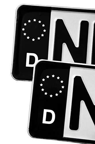 conkor Kennzeichenaufkleber - 2 Schwarze Tuning-Aufkleber für Kennzeichen - UV- & witterungsbeständig, wasserfest, Kratzfest, auch für Waschstraße geeignet - 11 x 5 cm, in Deutschland hergestellt