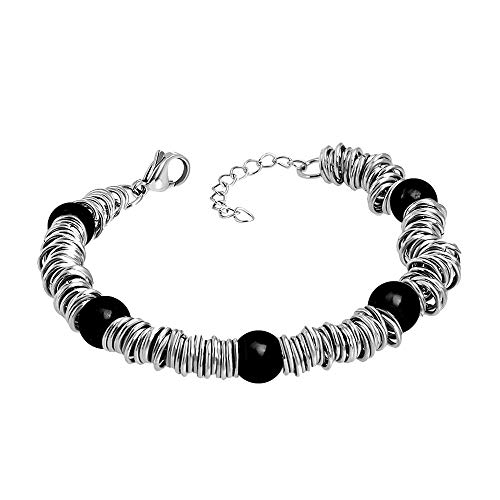 555Jewelry Stainless Steel Extendable Charm Discs & Beads Bracelet for Women 7.5 inches Silver & Onyx