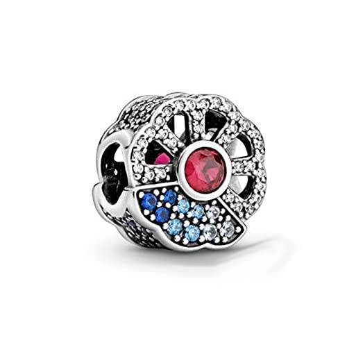 LIIHVYI Pandora Charms para Mujeres Cuentas Plata De Ley 925 Circón De Regalo De Joyería De Abanico Rosa Azul Pre Otoño Compatible con Pulseras Europeos Collars