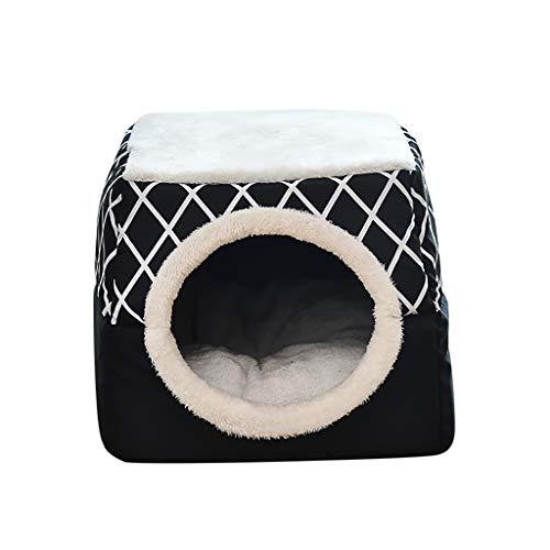 UNSKAM Hundebetten Katzenhöhle für Kleine Katzen 2 in 1 Faltbares Katzenhaus Haustierbett Gemütlich Atmungsaktiv,Schwarz,XL
