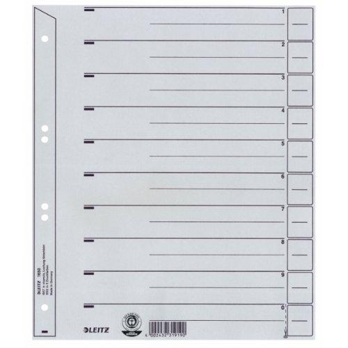 Leitz Register für A4, Deckblatt und 10 Trennblätter, Taben individuell zuschneidbar, 25 Stück, Überbreite, Grau, 100% Recyclingkarton, 16503085
