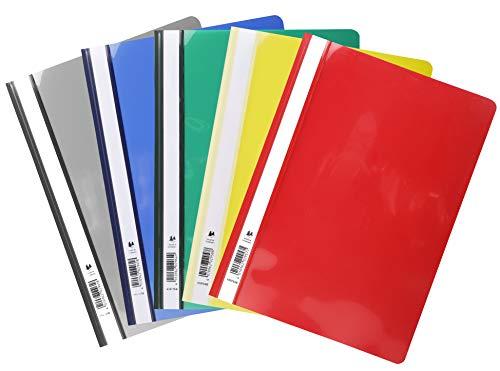Exacompta 439725B Packung mit 50 Sichthefter aus PVC (mit beschriftungsstreifen, für DIN A4, 21 x 29,7 cm) farbig sortiert