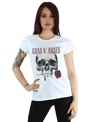 Guns N Roses mujer Flower Skull Camiseta Small Blanco
