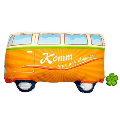 De Geschenkewelt 46500 pluche kussen bus, figuurkussen in bus vorm, kussen met komm laat ons afvallen, 26 cm x 42 cm, oranje