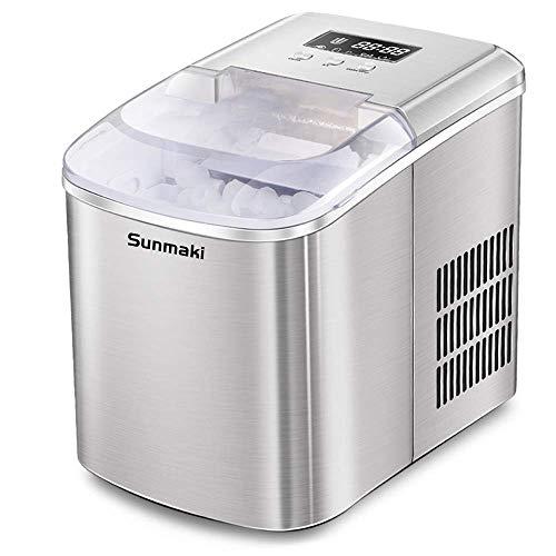 Sunmaki eismaschine eiswürfelmaschine, 12kg eiswürfel 24h, eiswürfelbereiter Edelstahl, 1.8L Wassertank, ice maker 110W, Produziere 8 Eiswürfel, Zubereitung in 9 min,