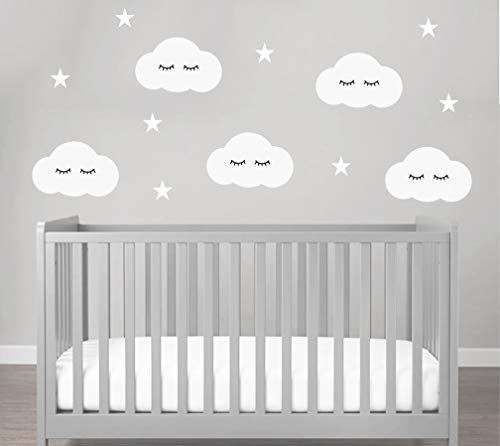 Wandtattoo Wolken Sleepy Eyes mit Wimpern an der Wand SÜSSE WÖLKCHEN - 21 teilig - Wolke Wandtatoo Wandaufkleber Wand-Deko (Weiss)