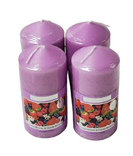 Wickford &Co Scented Candle in Pillar Shaped Pack of 4 Assorted Candles (Sweet Berries Honey Blossom)