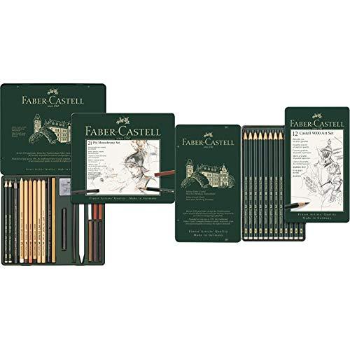 Faber-Castell 112976 Estuche de metal con 21 piezas, surtido de carbonos, grafitos, ecolápices y tizas + 9000 Set de 12 lápices para dibujo artístico