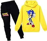 Silver Basic Nios y Nias Sonic The Hedgehog Chndal Sudadera con Capucha y Pantaln Conjunto Sonic Camisa y Pantaln Traje Fanticos de Sonic 140,Amarillo Traje de Sonic-3