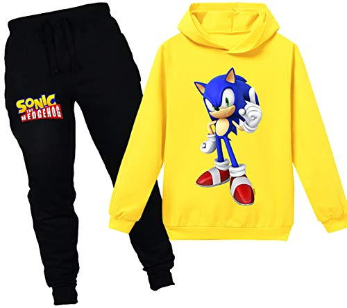 Silver Basic Niños Sudadera con Capucha y Pantalones Traje Sonic The Hedgehog Sudadera con Capucha...