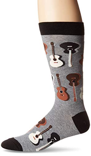 K. Bell Men's Music to My Ears Novelty Crew Socks, Acoustic Guitars (Charcoal), Shoe Size: 6-12