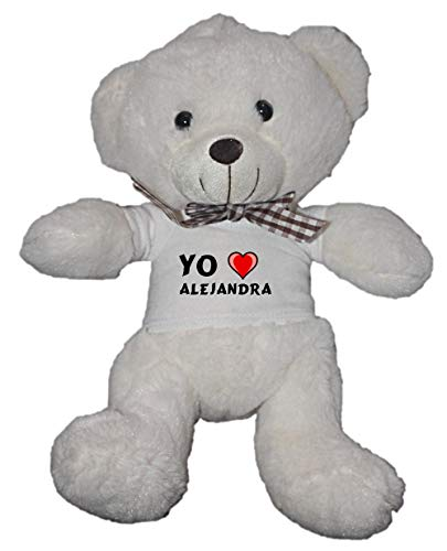 Oso blanco de peluche con Amo Alejandra en la camiseta (nombre de pila/apellido/apodo)